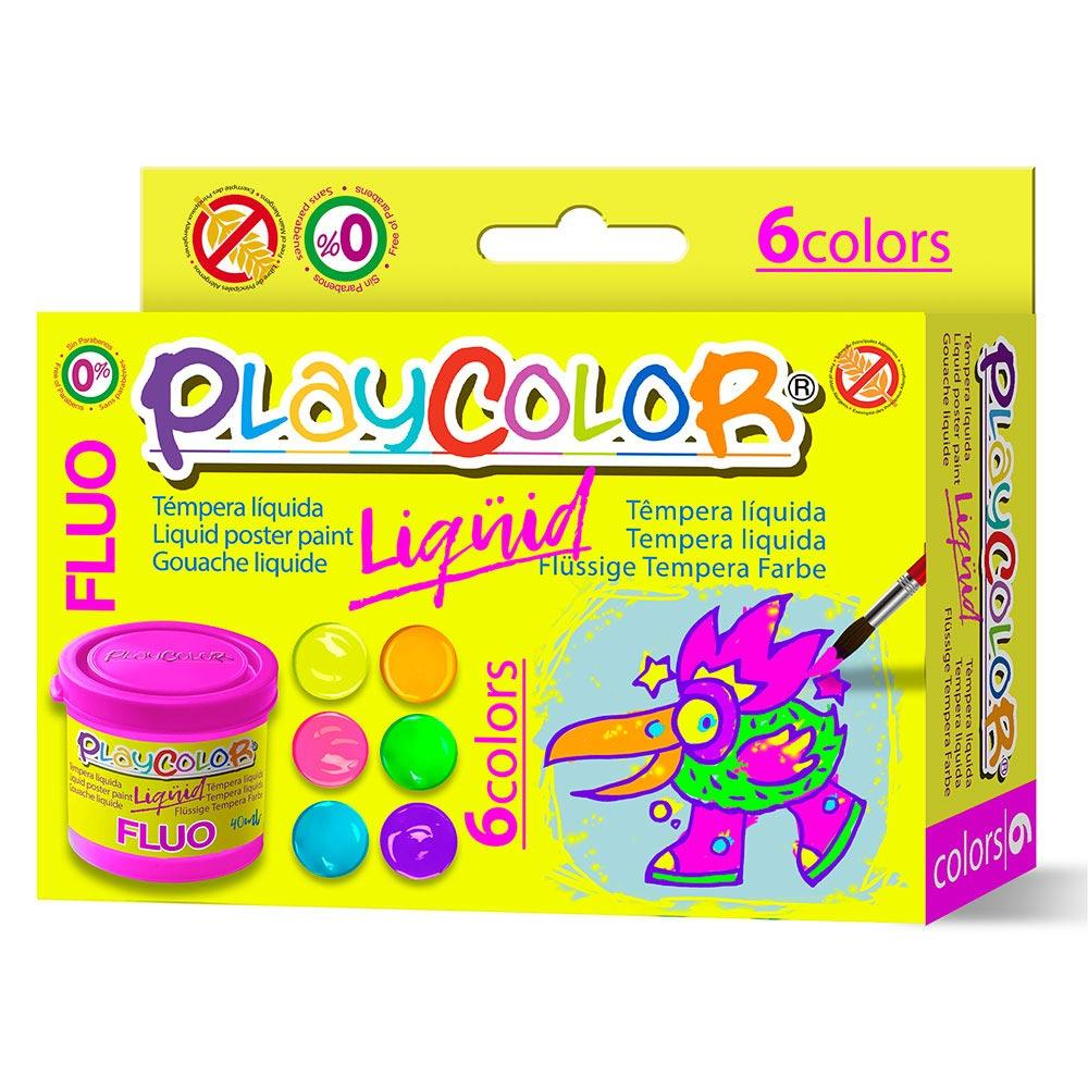 Témpera líquida Playcolor fluo 6 colores 40ml