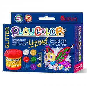 Témpera líquida Playcolor glitter 6 colores 40ml
