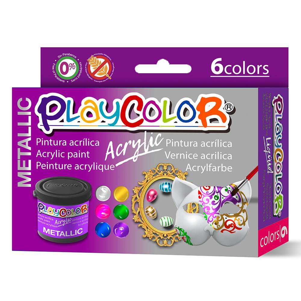 Playcolor acrylic metallic 6 colores 40ml