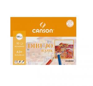 Minipack papel Basik Canson 130 gramos.  10 hojas A3+ con recuadro