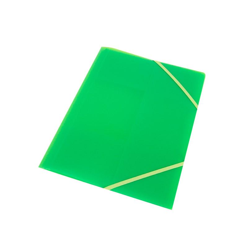 Carpeta cuarto con solapas verde fluo