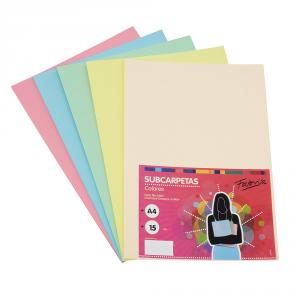 Subcarpeta A4 paquete 15uds 180gr color surtido pastel