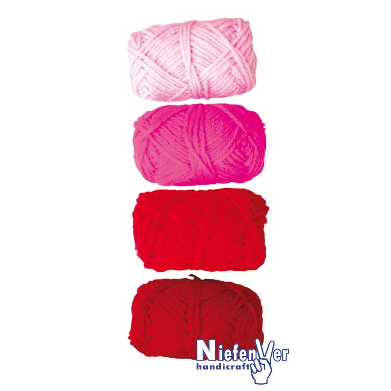 Bolsa 4 ovillos lana gama de rojos
