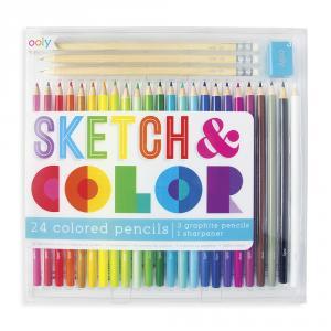 Set 24 lápices colores, 3 lápices de grafito y afilalápiz Sketch Color (24 colores)